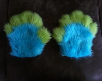 Turquoise and Lime Green Handpaws