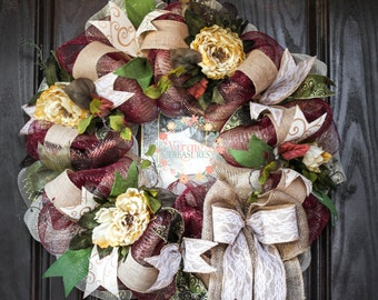 Beautiful All Season Wreath-Maroon Deco Mesh-Floral Wreath-Traditional-Classic-Mother's Day-Victorian
