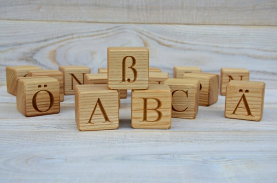 30 wooden german alphabet letter blocks handmade abc blocks for Greek wooden block letters