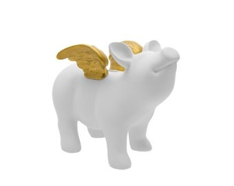 "Interior Illusions White Piggy Bank With Wings, Home, Decoration, Sculpture, Accessory, Table top, Desk top, Center piece, Gift - 7"" Long"