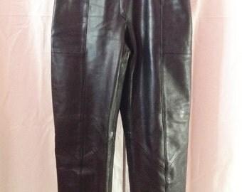 Pants vintage, black leather, South wind, T 34.