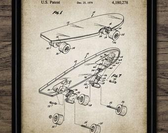 Vintage Skateboard Patent Print - 1979 Skateboard Design - Skateboarding Sport - Single Print #1034 - INSTANT DOWNLOAD
