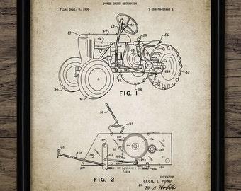 Vintage Tractor Patent Print - 1961 Tractor Design - Farming Poster - Ranch Decor - Farming - Single Print #1235 - INSTANT DOWNLOAD