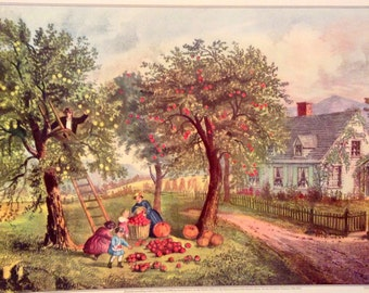 CURRIER & IVES Vintage 1952 Print Art American Homestead Autumn fall Picking Crops Fruit