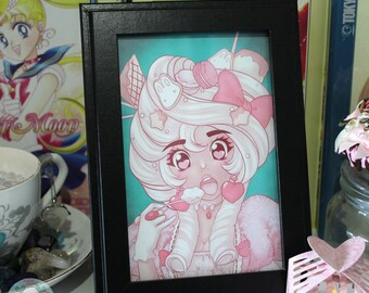 "4x6 ""Sweet Antoinette"" Kawaii Decora Original Anime Illustration Art Print"