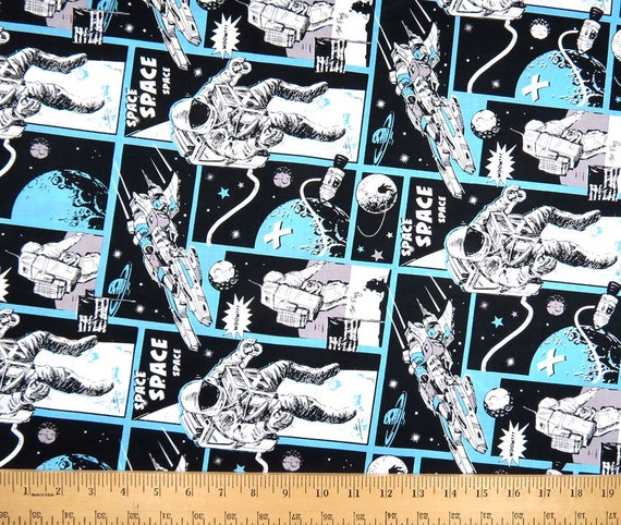 Sale astronaut comic adventure c4844 half yard or by the for Space dye knit fabric by the yard