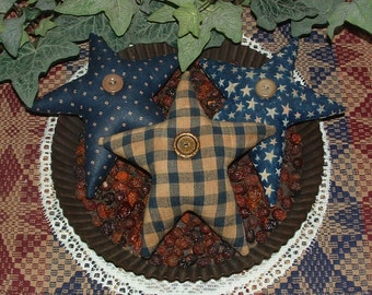 Primitive Country Folk Art Americana Red & Blue Star Ornies Tucks Bowl Fillers X 6
