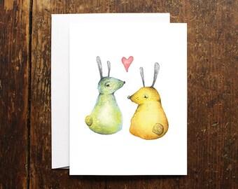 Bunnies Love Card illustration
