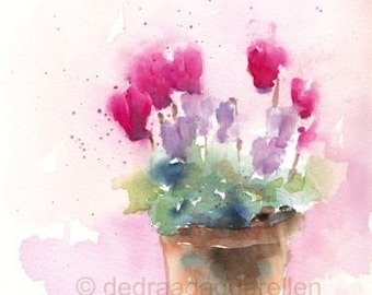 Cyclamen. Original watercolour.