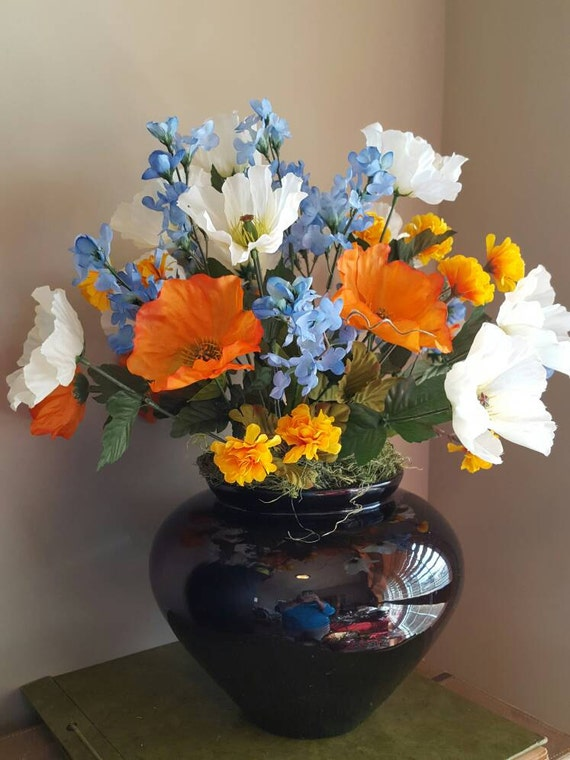 Poppy Floral Arrangement Silk Flower Arrangement Spring