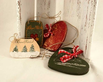 Four tree  decorations in wood 100% Made in Italy by me