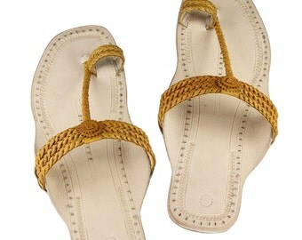 Light  yellow three braided ladies sandal DLC-W-430