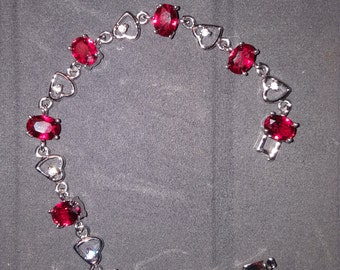 18K White Gold Filled Hearts Bracelet