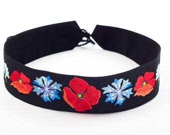 Black Dress Belt, Belt Embroidered with Floral Pattern