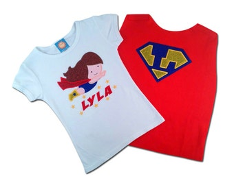 Girl's Super Hero Shirt with Name and Matching Cape