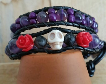 Day of The Dead (Purple), Leather Wrap Bracelet