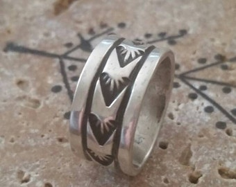 Sterling Silver Navajo Band Ring Size 8