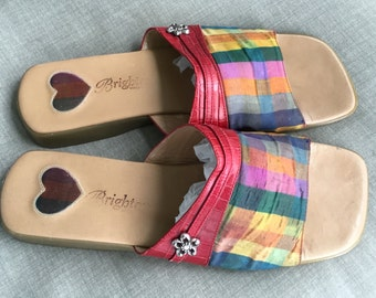 """REDUCED! Women's  Brighton """"Belize"""" plaid red croc slide sandals Italy"""