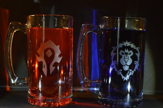 World of Warcraft etched Mugs (27 oz) set of 2 fan art