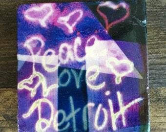 Peace Love Detroit Graffiti Art Coaster with cork backing
