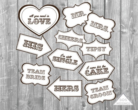 rustic country wedding photo booth signs photobooth props printable pdf instant download. Black Bedroom Furniture Sets. Home Design Ideas