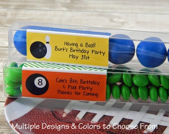 Bowling Party Favors - Soccer Party Supplies - Baseball Party Favors - Sports Party Favors - Candy Tubes - Set of 15