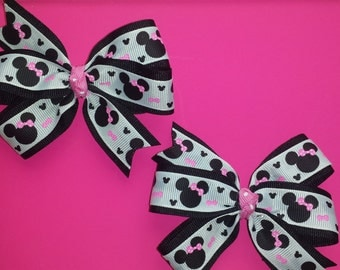 Minnie mouse hairbows for pigtails