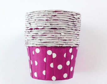 20 Purple Polka Dot Candy Cups, Treat Cups Cupcake Liners Baking Cups