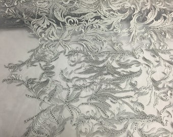 Gray rhinestone vines embroider on a mesh lace fabric - sold by yard