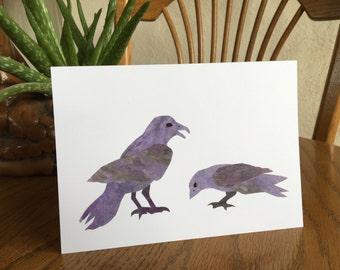 Crow Card, Crows, Bird Card, Bird Art, cut paper art