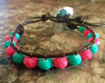 Mint and Pink Leather Wrap Bracelet