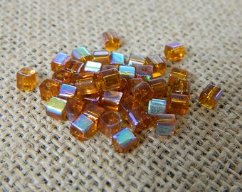 4mm AB Amber Square Glass Beads - 25 Beads