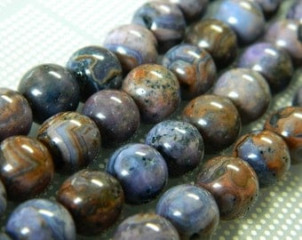 """Purple Crazy Lace Agate Beads - Crazy Lace Round Beads - Agate Gemstone - 10MM Round Beads - 8"""" Bead Strand, Approximately 20 Beads"""