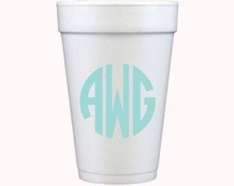 Circle Monogram Foam Cups *no custom printing plate*