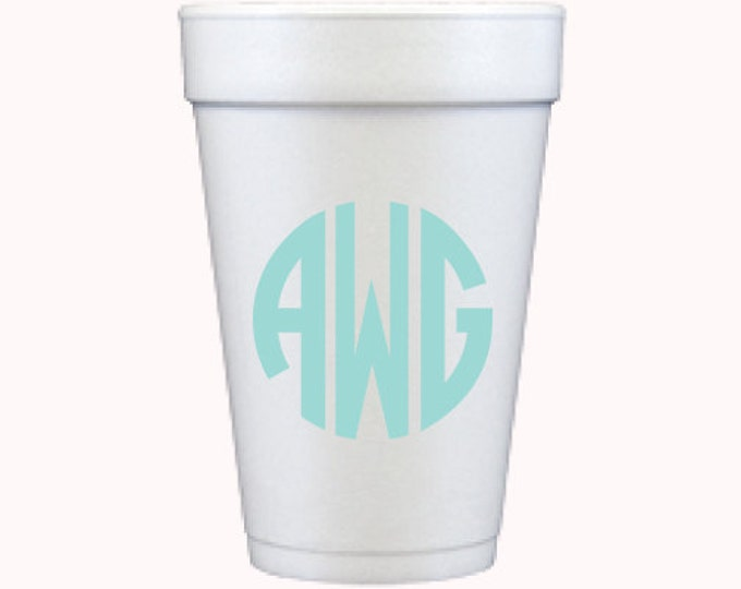 Circle Monogram Foam Cups *no custom printing plate*