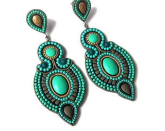 Emerald Green Earrings, Green Earrings, Geometric Earrings, Big Earrings, Statement Earrings, Omifimo, Huge Earrings, Statement Jewelry Fimo