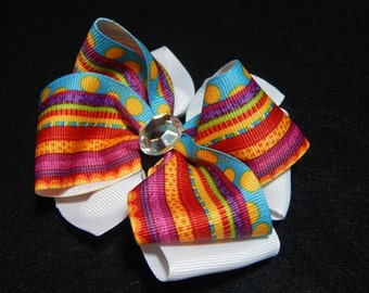 4 Inch Pinwheel Hair Bow, Stacked Hair Bow, Funky Hair Bow, Boutique Hair Bow, Hair Bow, Small Hair Bow, Hairbows, Colorful Hair Bow