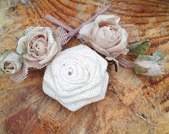 Ivory Burlap Roses - Cream Burlap Roses - Burlap Flowers - Table Decoration - Wedding Decoration - Cake Topper - Set of 20