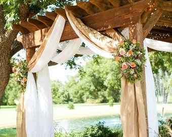 "Burlap Wedding Drapes - Rustic Curtain Panels - Burlap Wedding Decoration -Rustic Wedding Decor - Set of 2 - 35"" x 7m (23ft)"