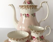 "RESERVED FOR AH Royal Albert ""Bridesmaid Rose"" Coffee Pot, Creamer, Sugar & Tray Teapot"
