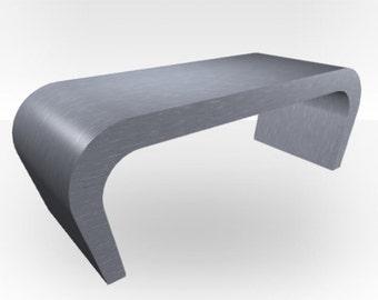 Brushed Steel Matt Coffee Table - Wedge