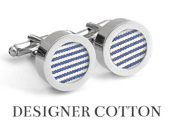 Cotton Anniversary Gift for Him // MARITIME // 2nd Anniversary Gifts for Men / Blue and White Stripe Cufflinks with Designer Shirting Fabric