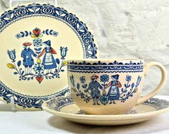 Johnson Brothers Tea Cup Trio - Hearts and Flowers - Johnson Bros Ironstone Vintage China, Ceramics and Pottery Tea Set in Folk Art Style