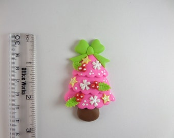 Christmas tree. Clay Charm Bead, Scrapbooking, Bow Center, Pendant, Cupcake topper, Magnet