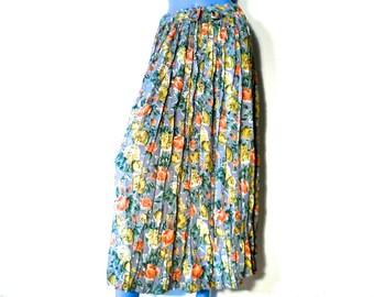 Vintage 80s Floral Skirt Elastic Waist Long