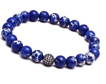 10mm Blue Variscite Pave Bracelet, Mens Bracelet, Gemstone Bracelet Mens, Womens Stretch Bracelet Gift, Variscite Jewelry, Variscite Beads
