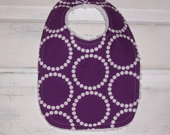 Baby Girls Rich Dark Purple Bib with White Dots !  FREE SHIPPING !!!!!
