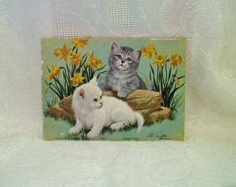 Elegant Kittens, Vintage Kitten Lithograph, Kitty Cat Flowers Litho, Yellow Daffodils, 1970's Arthur Kaplan Picture, Tiger Cat Print,