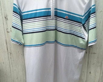 Ellesse Italia Vintage Tennis Man Polo Shirt Short Sleeve White Green Blue Size Man