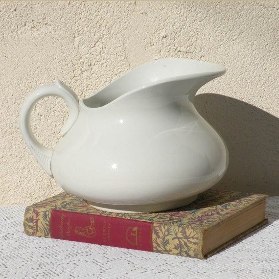 French vintage white jug pitcher, white vintage earthenware ironstone pitcher, French vintage jug, country home, French antique, shabby chic